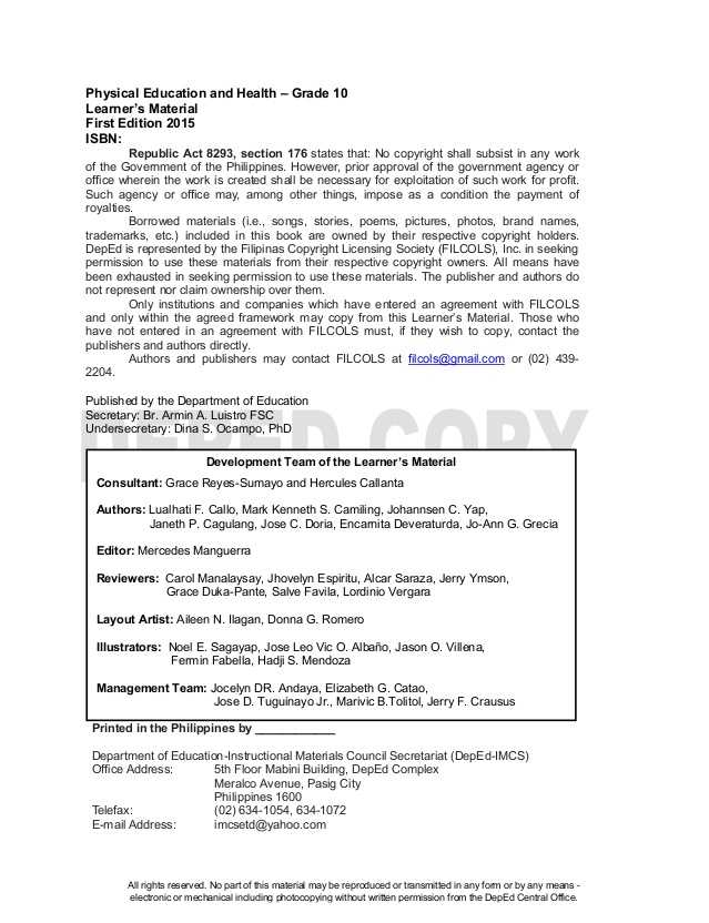 Middle School Health Worksheets Pdf or Physical Education 10 Learning Material