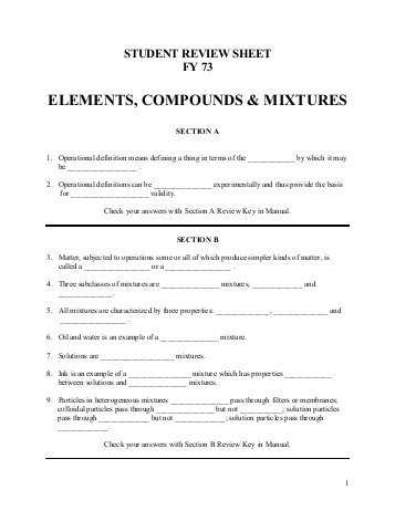 Molecular Compounds Worksheet Answers or Chapter 4 Directed Reading Worksheet Elements Pounds and Mixtures