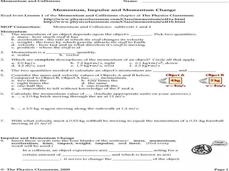 Momentum Impulse and Momentum Change Worksheet Answers Physics Classroom or Momentum and Impulse Worksheet