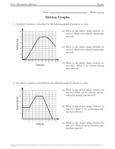 Motion Graphs Worksheet Answer Key or Plete force and Motion Bundle Inclusive Of Over 18 Worksheets