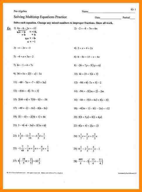 Multi Step Equations Worksheet Along with Awesome solving Multi Step Equations Worksheet Unique