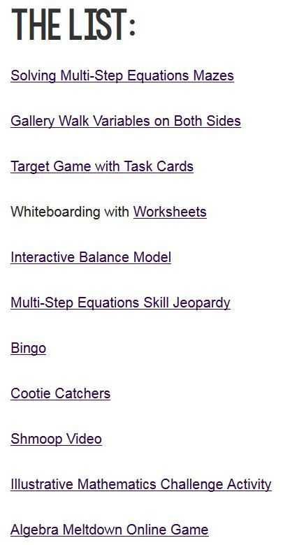 Multi Step Equations Worksheet or 11 Activities to Make Practicing Multi Step Equations Awesome