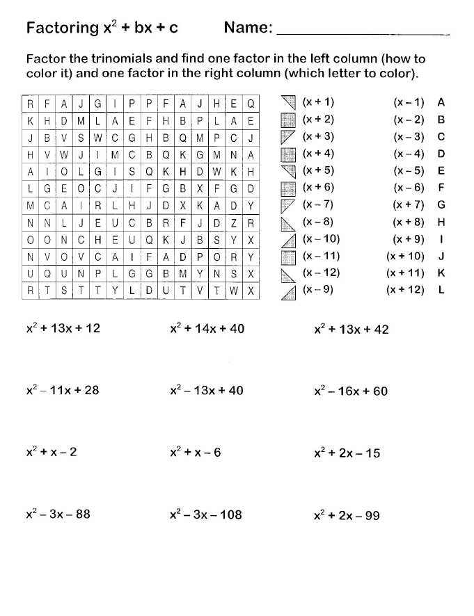 Multiplying Polynomials Worksheet Also Easy Factoring Search and Shade Algebra Pinterest