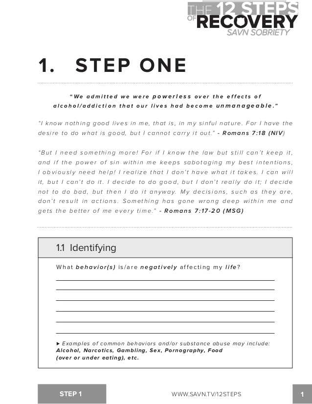 Na 1st Step Worksheets and the 12 Steps Of Recovery Savn sobriety Workbook