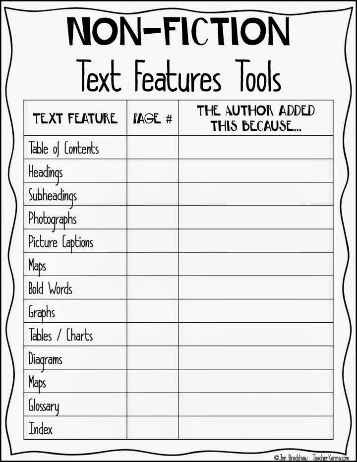 Nonfiction Text Structures Worksheet Also Non Fiction Text Feature Chart to Improve Reading Prehension