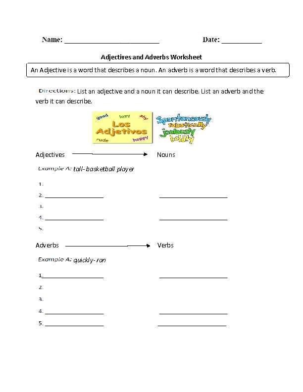 Noun Verb Adjective Adverb Worksheet as Well as Worksheets 48 New Adjective Worksheets High Definition Wallpaper