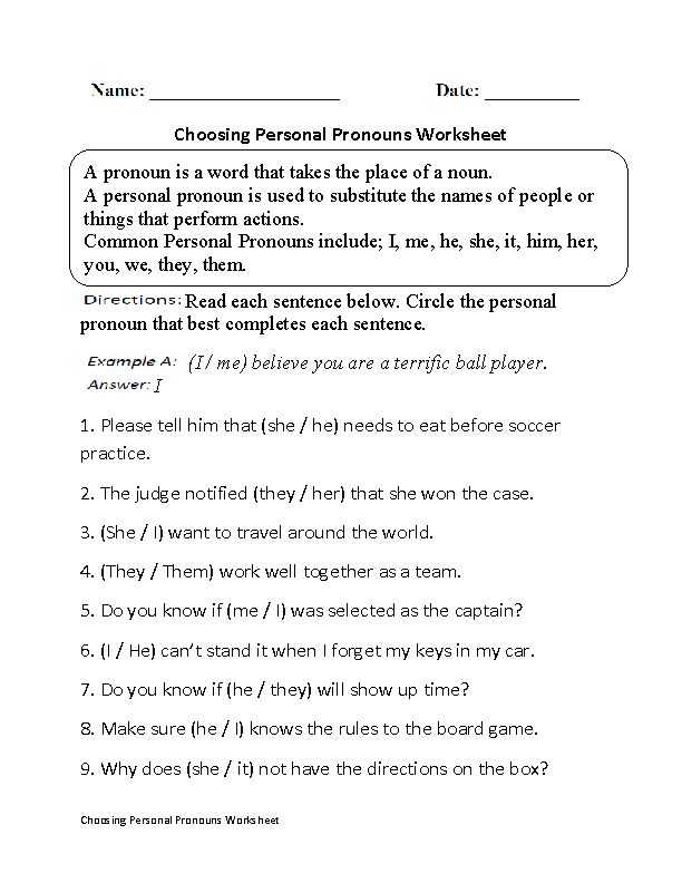 Nouns and Pronouns Worksheets with Noun Pronoun Agreement Examples
