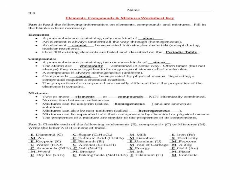 Nova Hunting the Elements Worksheet Answer Key together with Worksheet Elements Pounds Mixtures Brunokone and Answers
