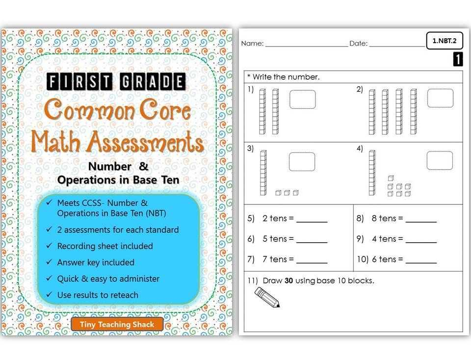 Number and Operations In Base Ten Grade 4 Worksheets or First Grade Mon Core Math assessments Number & Operations In