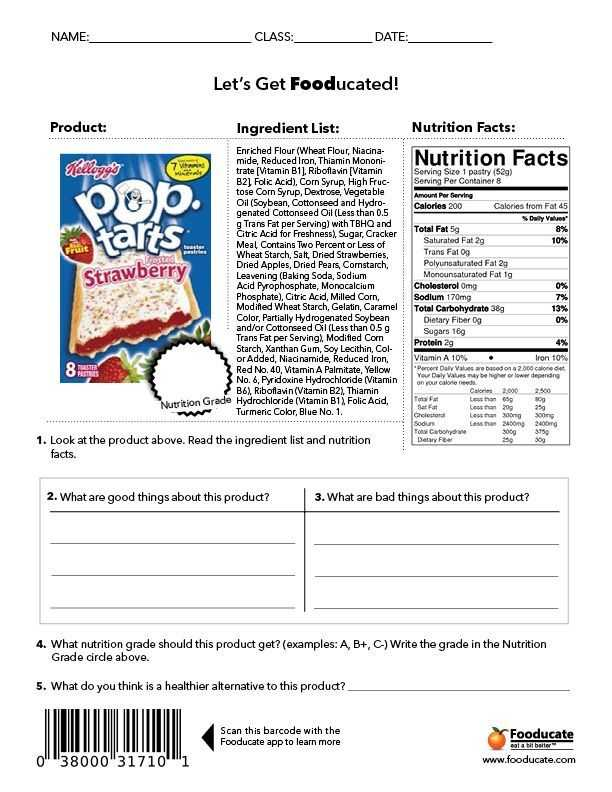 Nutrition Label Analysis Worksheet as Well as Fun Nutrition Worksheets for Kids