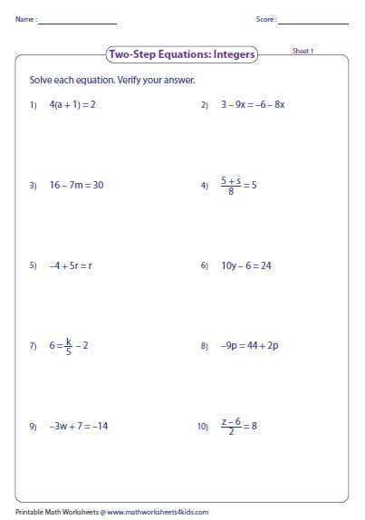 One Step Equations with Fractions Worksheet or E Step Equation Worksheets