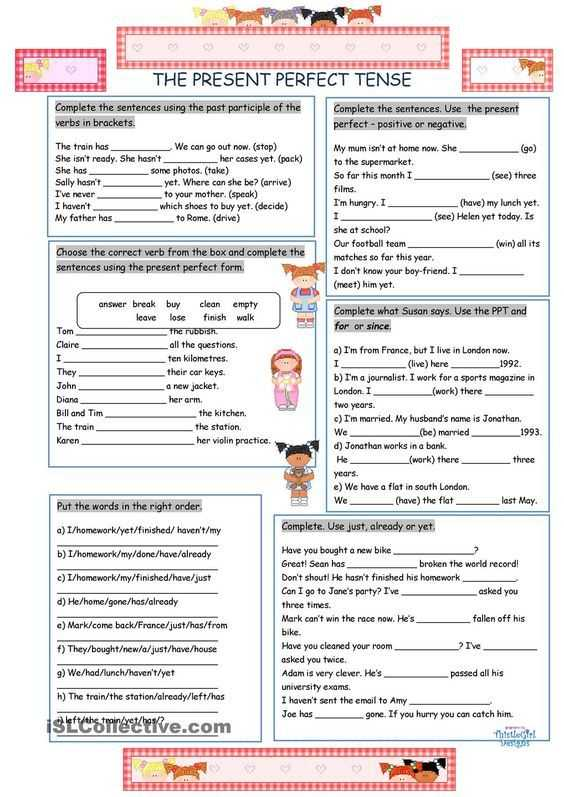 Perfect Verb Tense Worksheet Along with the Present Perfect Tense Lugares Para Visitar
