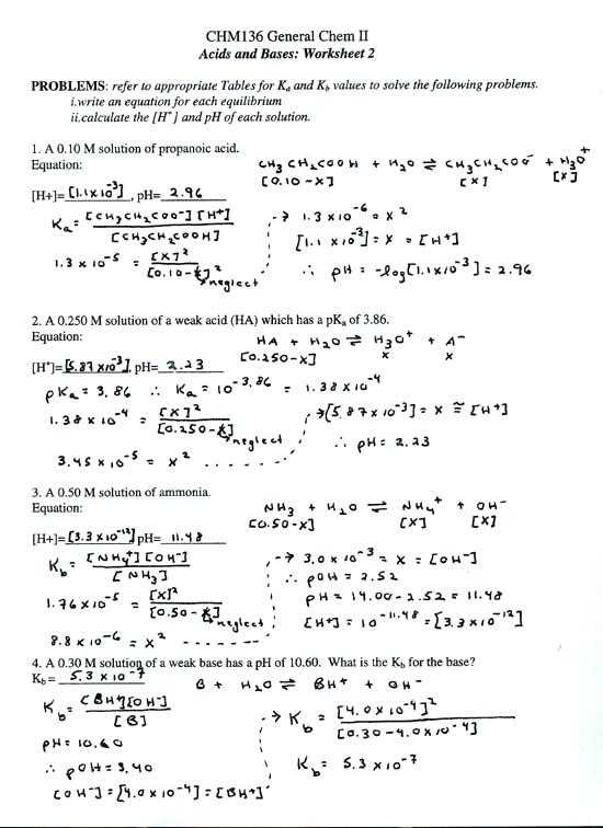 Ph Worksheet Answer Key Also Acids and Bases Worksheet Answers