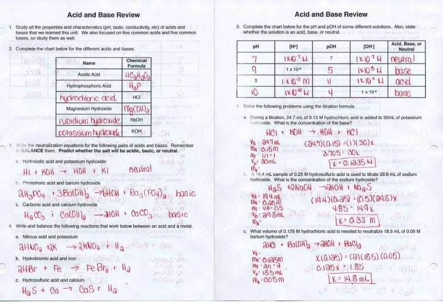 Ph Worksheet Answer Key together with Acids and Bases Worksheet Answers