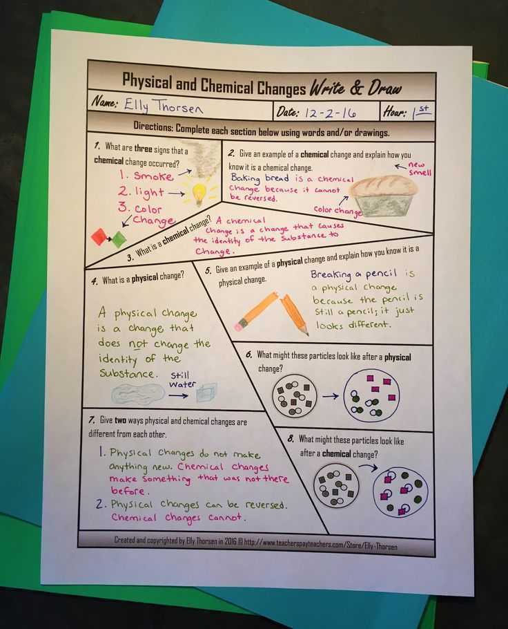Physical and Chemical Properties Worksheet Physical Science A Answers as Well as 80 Best Physical & Chemical Changes Images On Pinterest