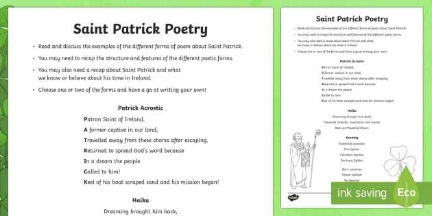 Poetry Comprehension Worksheets together with St Patrick Poetry Worksheet Activity Sheet Ni St