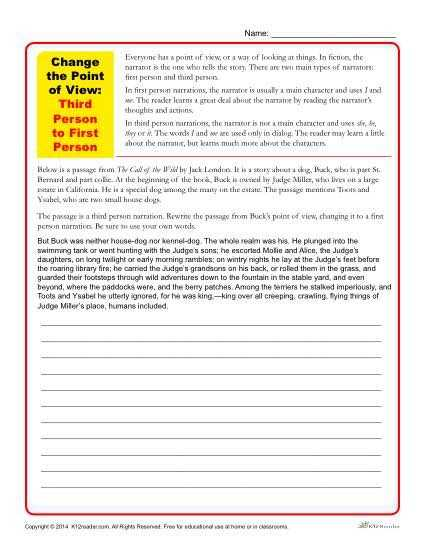 Point Of View Worksheet Answers Along with First Second or Third Person Points Of View Worksheet