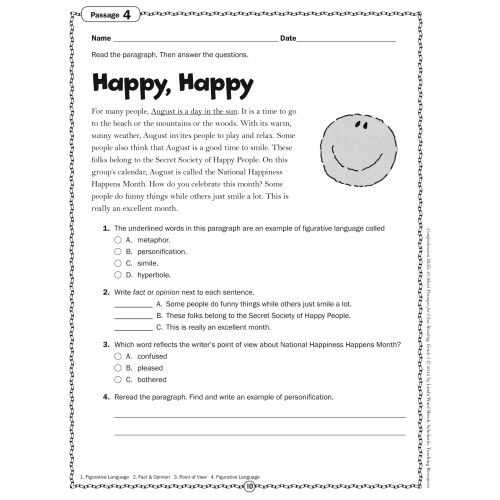 Point Of View Worksheet Answers Also Prehension Skills Short Passages for Close Reading Grade 5 Sc