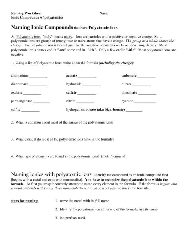 Polyatomic Ionic Compounds Worksheet or Worksheets 44 Unique Naming Ionic Pounds Worksheet High