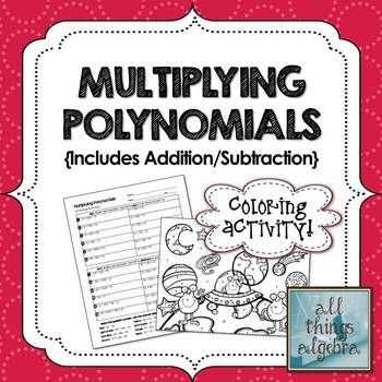 Polynomials Worksheet Pdf with Multiplying Polynomials Foil Coloring Activity