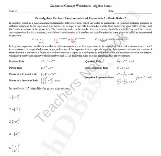 Power Worksheet Answers as Well as Basic Algebra Worksheet 8 Pre Alg Rev Funds Of Exponents 3