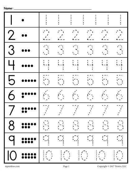 Pre K Writing Worksheets and Free Tracing Worksheets Numbers 1 20