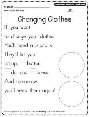 Prefix Worksheets 3rd Grade and Changing Clothes Structural Analysis Prefixes Un Phonics Poetry