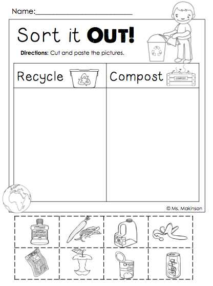 Preschool Activities Worksheets Along with Freebie Earth Day Printables sort It Out Cut and Paste