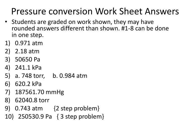 Pressure Conversions Chem Worksheet 13 1 Along with Pressure Conversion Worksheet Kidz Activities