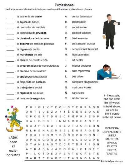 Printable Spanish Worksheets Along with Printable Spanish Freebie Of the Day Profesiones 1 Puzzle Worksheet