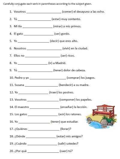 Printable Spanish Worksheets and Free Spanish Verb Conjugation Sentences Worksheets Packet On