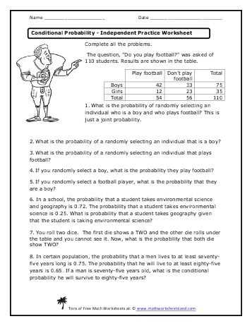 Probability theory Worksheet 1 Also Conditional Probability Independent Practice Worksheet Math