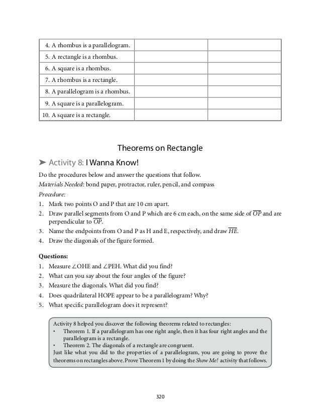 Properties Of Rectangles Rhombuses and Squares Worksheet Answers as Well as Grade 9 Mathematics Module 5 Quadrilaterals Lm