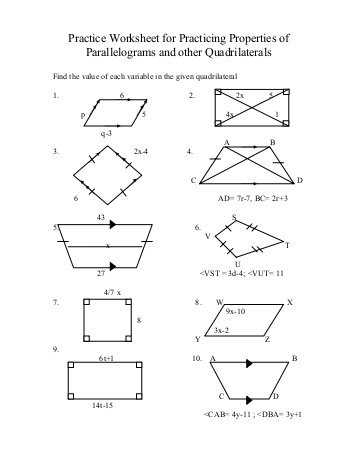 Properties Of Rectangles Rhombuses and Squares Worksheet Answers as Well as Properties Parallelograms Worksheet Cadrecorner
