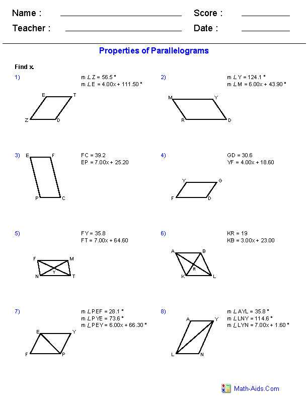 Properties Of Rectangles Rhombuses and Squares Worksheet Answers as Well as Properties Parallelograms Worksheet