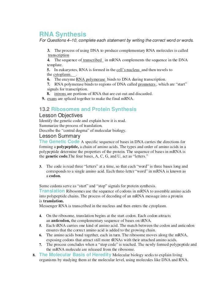 Protein Synthesis Webquest Worksheet Answer Key or New Transcription and Translation Worksheet Answers Fresh Answers to