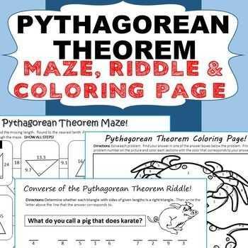 Pythagorean theorem Coloring Worksheet Also 8 G B 6 Pythagorean theorem Bundle Special Education Esl
