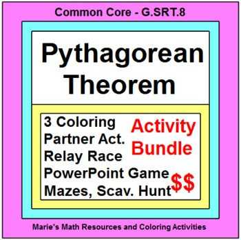 Pythagorean theorem Coloring Worksheet with 15 Best Pythagorean theorem Activities Images On Pinterest