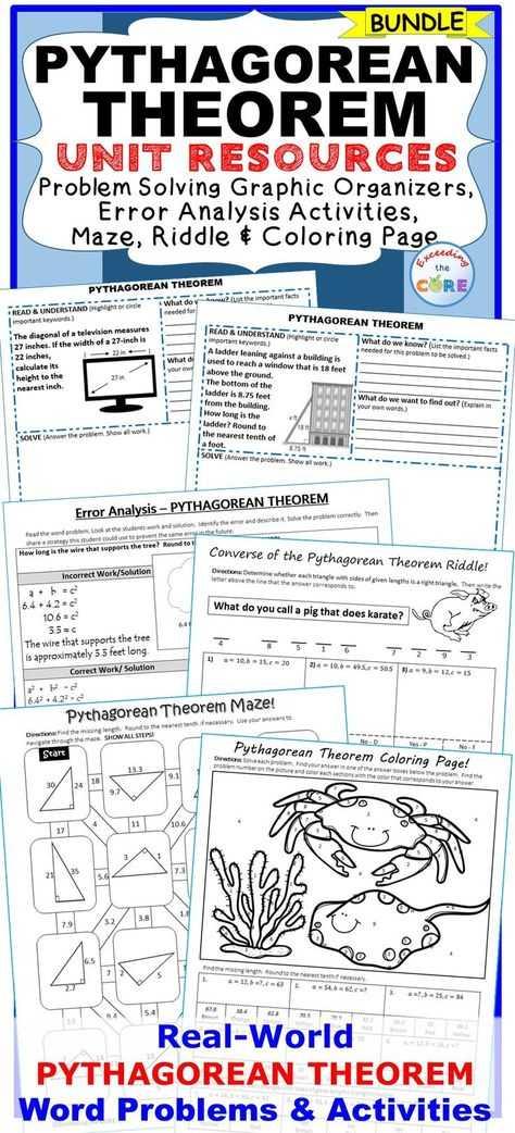 Pythagorean theorem Coloring Worksheet with 8 G B 6 Pythagorean theorem Bundle Special Education Esl