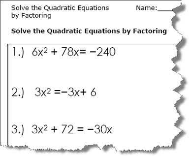 Quadratic formula Worksheet with Answers Pdf and Quadratic Equation Worksheets Printable Pdf Download
