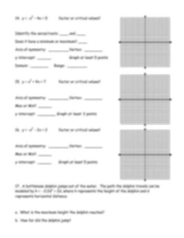 Quadratics Review Worksheet with Review solving Quadratics by Graphing Graphing Quadratics Review