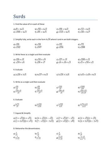 Rationalizing Denominators Worksheet Answers and Surds Practice Questions solutions by Transfinite Teaching