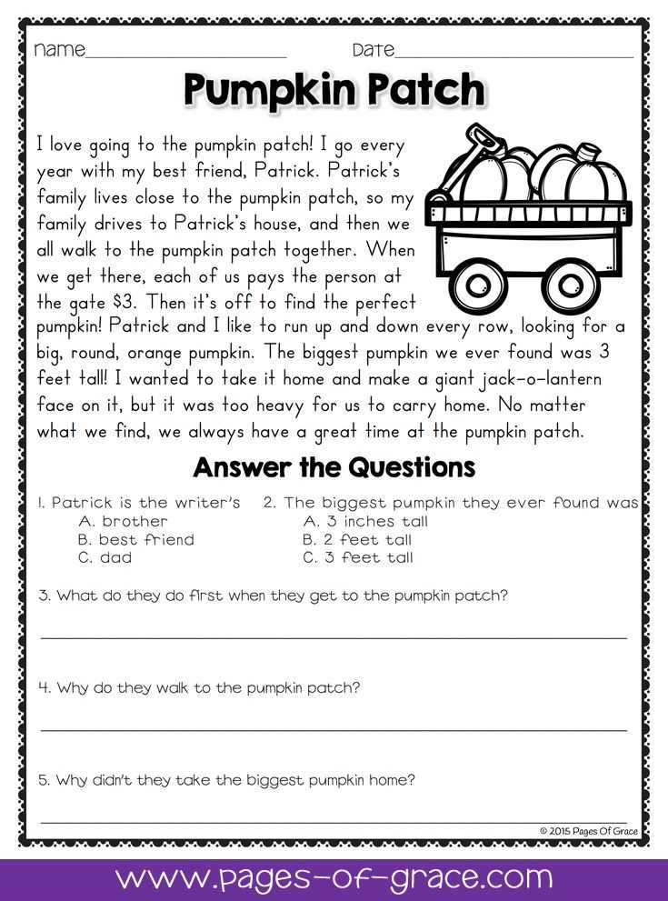 Reading and Questions Worksheets or Reading Prehension Passages and Questions for October
