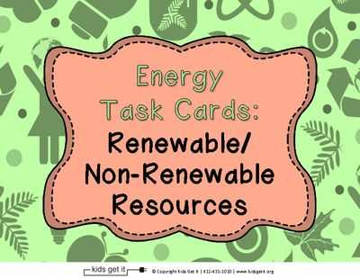 Renewable and Nonrenewable Energy Worksheets as Well as Energy Task Cards Renewable and Non Renewable Resources