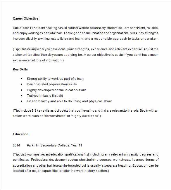 Resume Worksheet for High School Students Along with High School Student Resume Templates Elegant Resume Template for