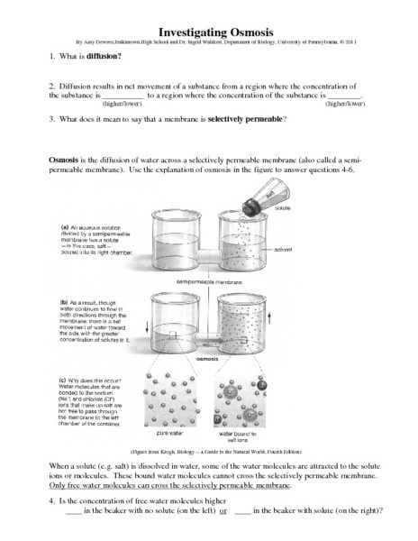 Science 8 Diffusion and Osmosis Worksheet Answers Along with Worksheets 48 Awesome Diffusion and Osmosis Worksheet Answers Hi Res
