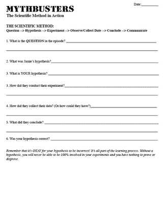 Scientific Inquiry Worksheet Along with Teaching the Scientific Method Cool Mythbusters Video with Activity