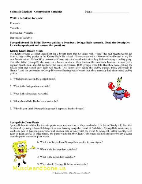 Scientific Method Worksheet Answer Key Along with Best Scientific Method Worksheet Controls and Variables