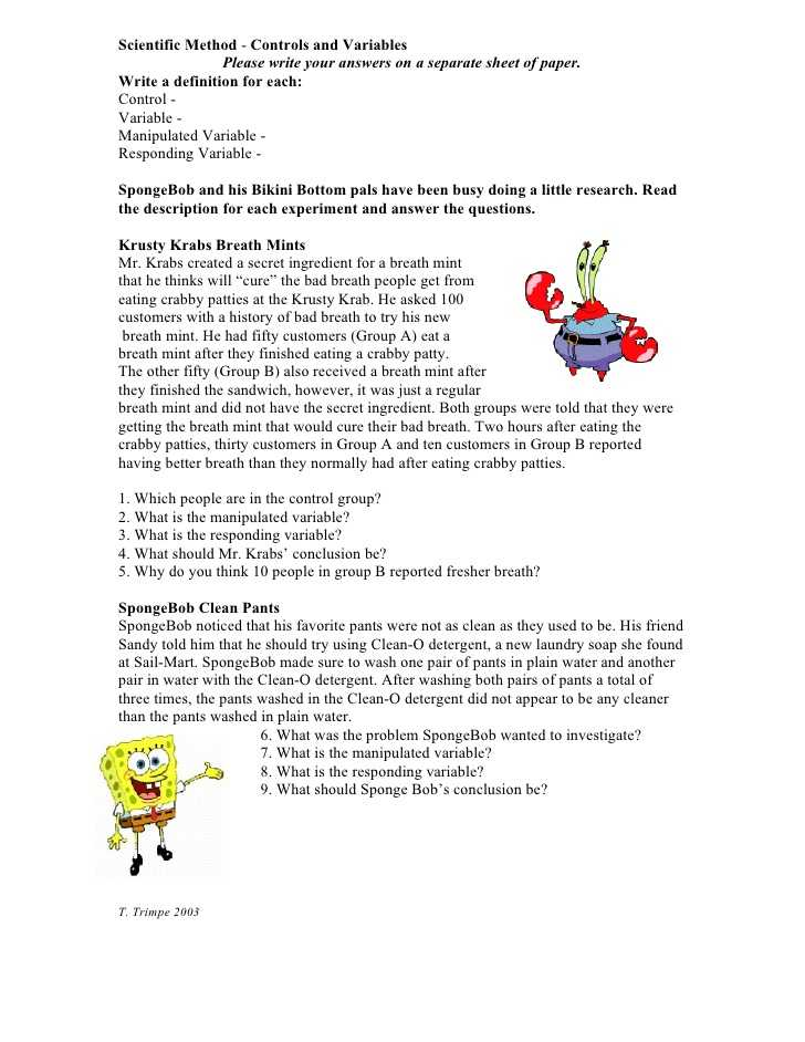 Scientific Method Worksheet Answer Key and Scientific Method Controls and Variables Please Write Your Answers