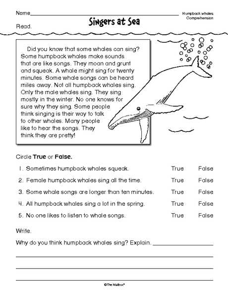 Second Grade Reading Comprehension Worksheets Also Reading Prehension Worksheet Nonfiction Whales Reading Word Free